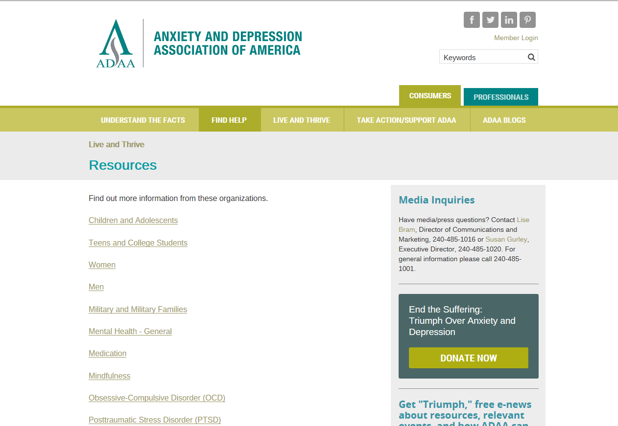 Anxiety and Depression Association of America Live and Thrive Resources