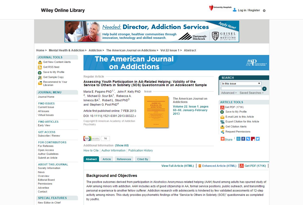 The American Journal on Addictions