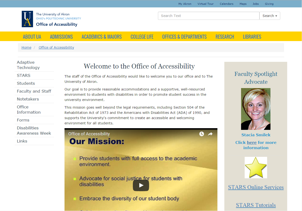 University of Akron (UA) - Office of Accessibility