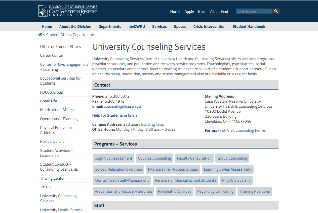 CWRU Counseling Services
