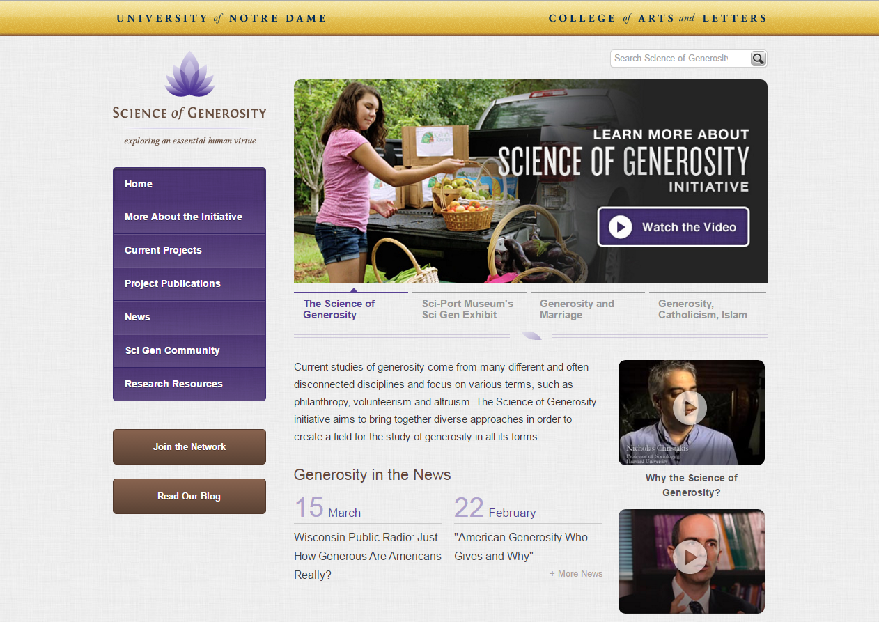 University of Notre Dame Science of Generosity