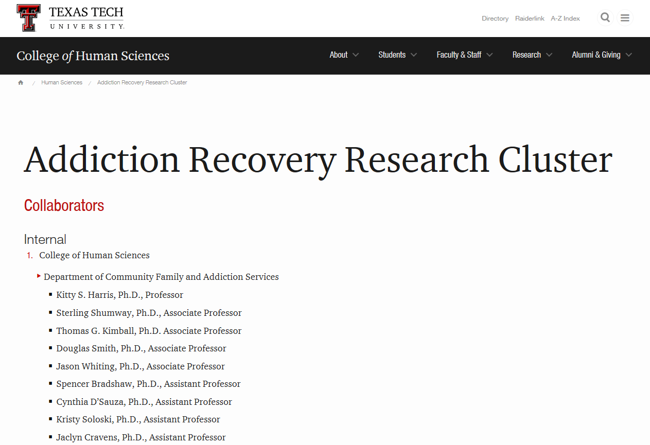 Addiction Recovery Research Cluster at Texas Tech University