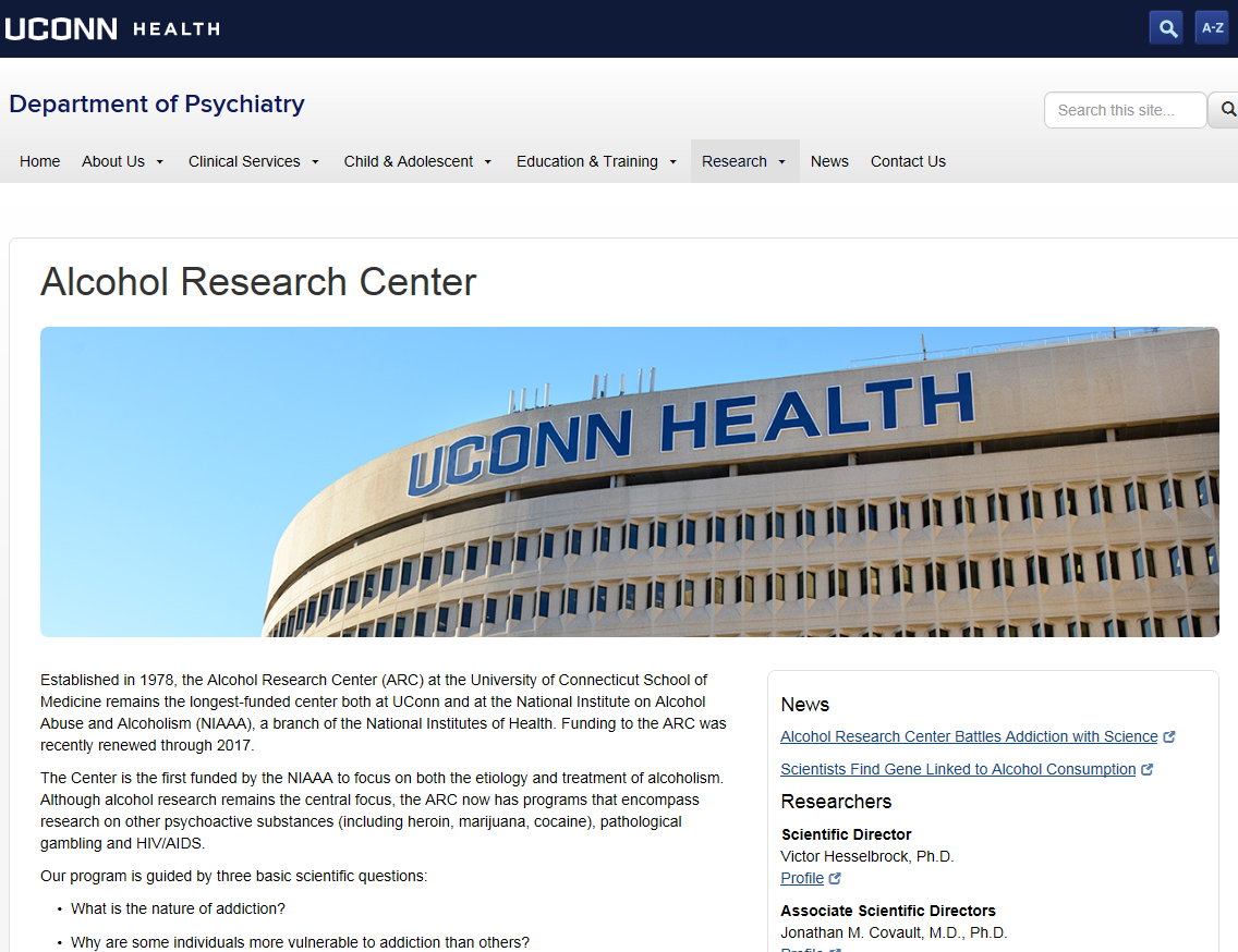 UCONN HEALTH Alcohol Research Center