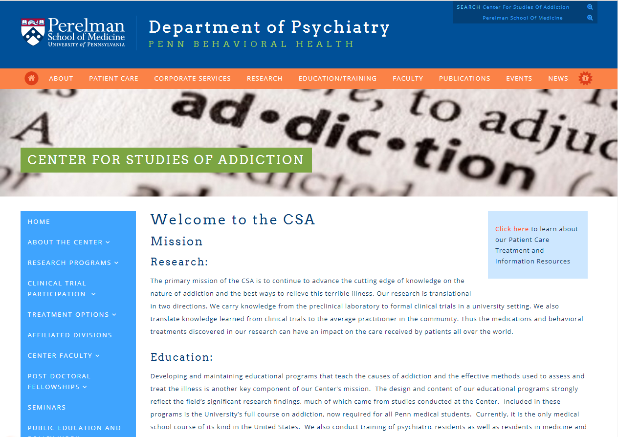 University of Pennsylvania Center for Studies of Addiction (CSA)