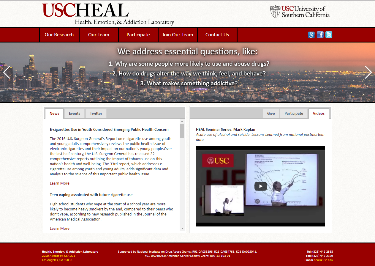 USC HEAL Health, Emotion, and Addiction Laboratory