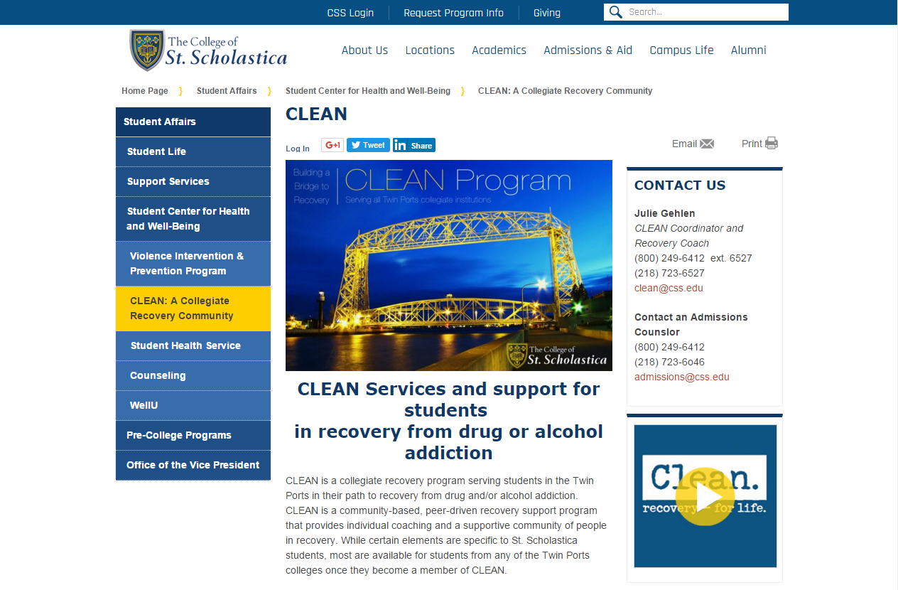 University of St. Scholastica Clean Program
